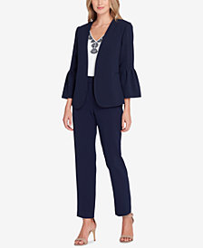Tahari ASL Pleated Bell-Sleeve Blazer & Straight-Leg Pants, Regular & Petite