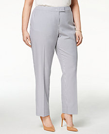 Anne Klein Plus Size Straight-Leg Striped Ankle Pants