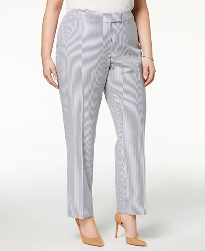 Anne Klein Plus Size Straight-Leg Ankle Pants
