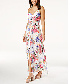 Crystall Doll Juniors' Ruffled Open-Back Maxi Dress