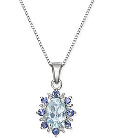 "Aquamarine (3/4 ct. t.w.) & Iolite 18"" Pendant Necklace in 14k White Gold"