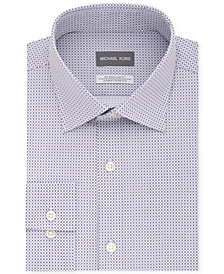 Michael Kors Men's Classic/Regular Fit Non-Iron Airsoft Stretch Performance Blue Print Dress Shirt