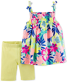 Carter's 2-Pc. Floral-Print Cotton Tank Top & Tumbling Shorts Set, Toddler Girls