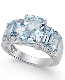 Aquamarine (3-3/4 ct. t.w.) & Diamond Accent Ring in 14k White Gold