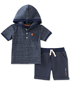 Calvin Klein 2-Pc. Hooded Shirt & Shorts Set, Baby Boys