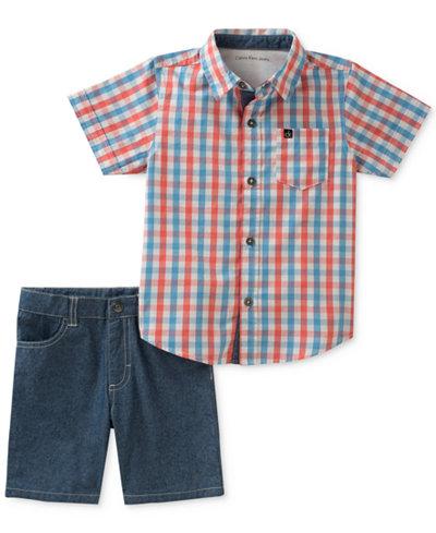 Calvin Klein 2-Pc. Plaid-Print Cotton Shirt & Shorts Set, Baby Boys