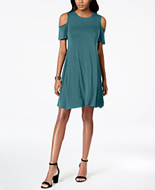 Style & Co Petite Flutter-Sleeve Cold-Shoulder Dress