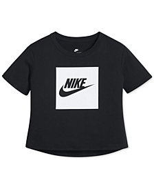 Nike Cotton Cropped Logo-Print T-Shirt, Big Girls