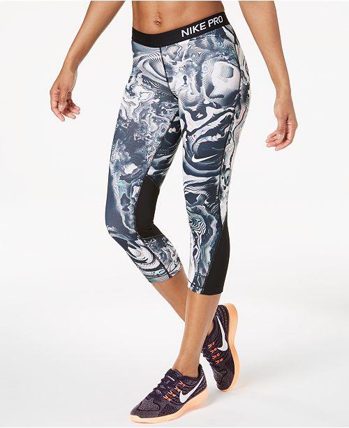 7096376be110b7 Nike Pro Dri-FIT Printed Capri Workout Leggings & Reviews - Pants ...