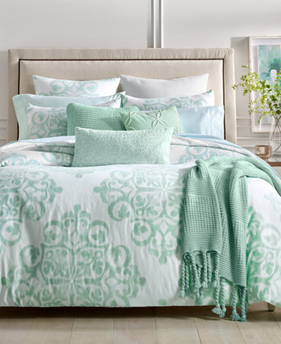 Charter Club Damask Designs Cotton 3-Pc. Watercolor Medallion-Print Full/Queen Duvet Cover Set, Created for Macy's