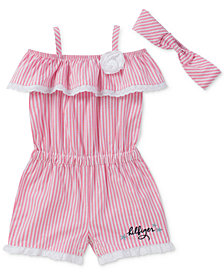 Tommy Hilfiger Striped Romper & Headband, Baby Girls
