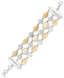 Lucky Brand Two-Tone Imitation Pearl Multi-Chain Bracelet