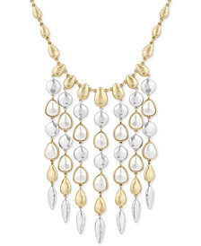 "Lucky Brand Two-Tone Imitation Pearl Statement Necklace, 16"" + 2"" extender"