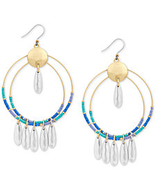 Lucky Brand Two-Tone Colored Bead Double-Hoop Drop Earrings