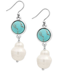 Lucky Brand Silver-Tone Colored Stone & Imitation Pearl Double Drop Earrings
