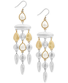 Lucky Brand Two-Tone Imitation Pearl Chandelier Earrings