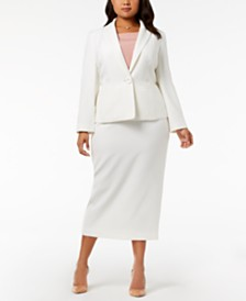 Kasper Plus Size One-Button Crepe Jacket & Column Skirt