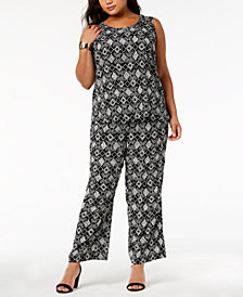 Kasper Plus Size Printed Shell & Wide-Leg Pants