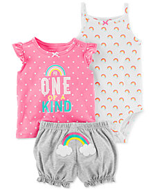 Carter's Baby Girls 3-Pc. Printed Cotton Bodysuit, Top & Shorts Set