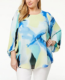 Alfani Plus Size Pleated-Sleeve Top, Created for Macy's