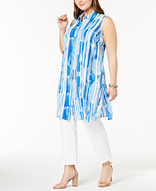 Alfani Plus Size Printed Sleeveless Tunic, Created for Macy's