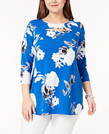 Alfani Plus Size Floral-Print Cutout Tunic, Create for Macy's