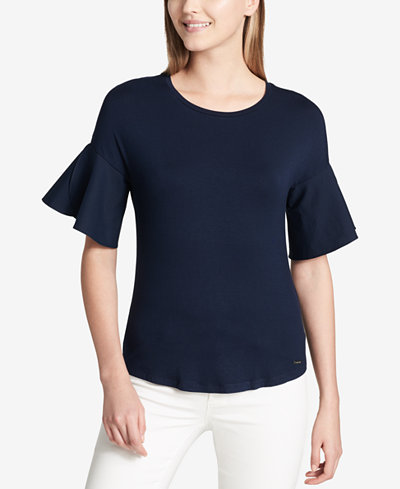 Calvin Klein Flared-Sleeve Poplin Top