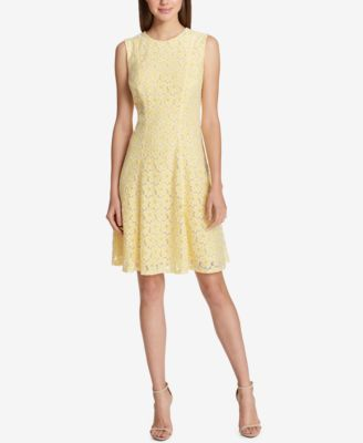 Belted dress with pockets yellow blackwhite