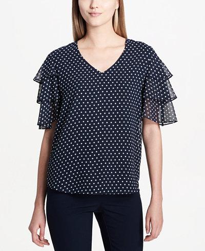 Calvin Klein Ruffled Polka-Dot Top