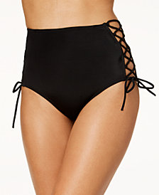 SUNDAZED Stella Printed Strappy High-Waist Hipster Bikini Bottoms, Created for Macy's