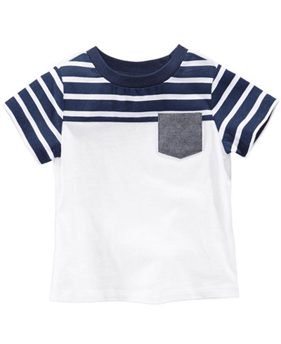 First Impressions Striped Pocket Cotton T-Shirt, Baby Boys, Created for Macy's
