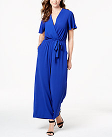 Monteau Petite Belted Surplice Jumpsuit, Created for Macy's