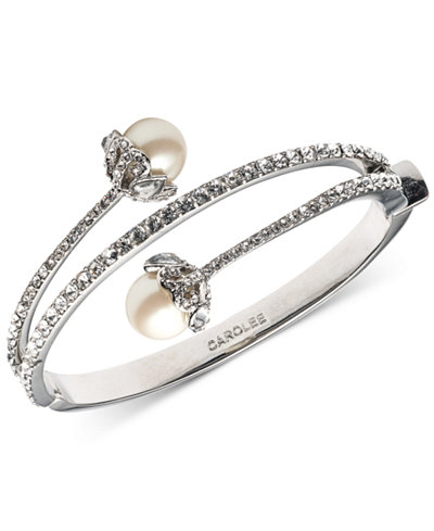 Carolee Silver-Tone Imitation Pearl And Crystal Hinged Bangle Bracelet