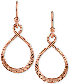 Unwriiten Infinity Drop Hoop Earrings in Rose Gold-Flashed Sterling Silver