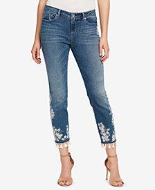 Vintage America Embroidered Tassel-Hem Skinny Jeans