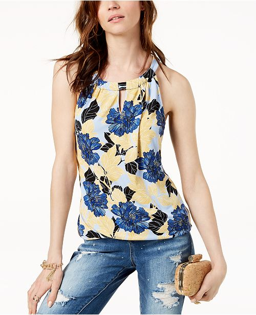 INC International Concepts I.N.C. Printed Hardware-Embellished Top, Created for Macy's