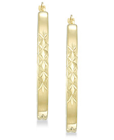 Signature Gold™ Diamond Accent Patterned Hoop Earrings in 14k Gold over Resin