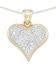 "Signature Gold™ Diamond Accent Swarovski Crystal Heart 18"" Pendant Necklace in 14k Gold over Resin"
