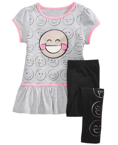 Awake 2-Pc. Emoji-Print Tunic & Leggings Set, Little Girls