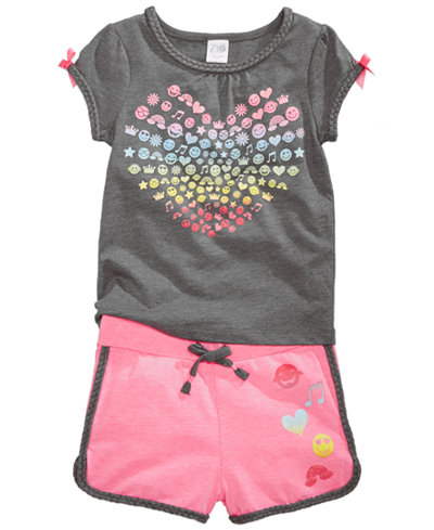 Awake 2-Pc. Emoji-Print T-Shirt & Shorts Set, Little Girls