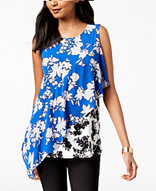Alfani Mixed-Print Asymmetrical Top, Created for Macy's