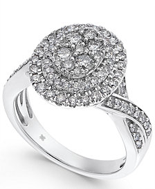 Diamond Oval Cluster Halo Engagement Ring (1 ct. t.w.) in 14k White Gold