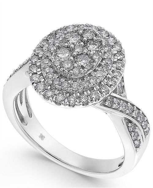 Macy's Diamond Oval Cluster Halo Engagement Ring (1 ct. t.w.) in 14k White Gold