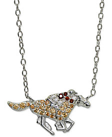 "Giani Bernini Cubic Zirconia Jockey & Horse Pendant Necklace in Sterling Silver, 16"" +2"" extender, Created for Macy's"