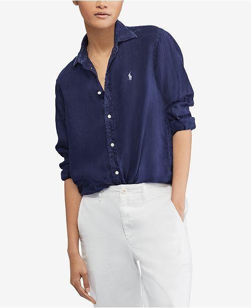 c482af3cbdf9 Polo Ralph Lauren Relaxed Fit Linen Shirt   Reviews - Tops - Women ...