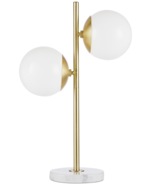 Update your space with the unique style of the Ink+Ivy Holloway Table Lamp. This table lamp features a white glass shade and a metal fixture with a gold finish for a striking contrast. The rounded shape creates a truly modern look for your living room or bedroom. Two Type A light bulbs are needed.