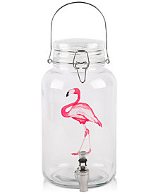 Home Essentials Flamingo Bail & Trigger 1-Gallon Glass Beverage Dispenser