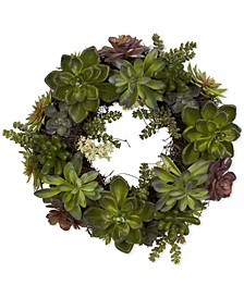 "20"" Artificial Succulent Wreath"