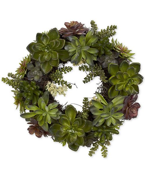 """Nearly Natural 20"""" Artificial Succulent Wreath"""
