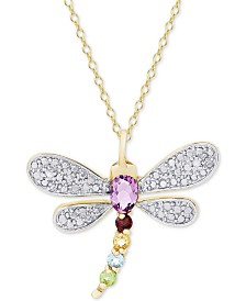 "Multi-Gemstone (5/8 ct. t.w.) & Diamond Accent Dragonfly 18"" Pendant Necklace in 18K Gold-Plated Sterling Silver"